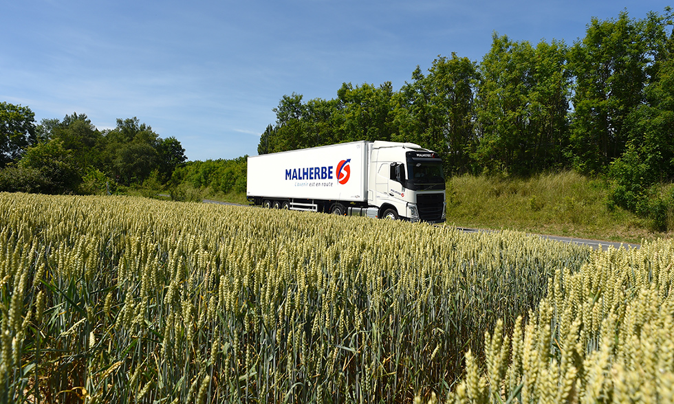 AFFICHAGE CO2 Transport Malherbe camion de transport en europe